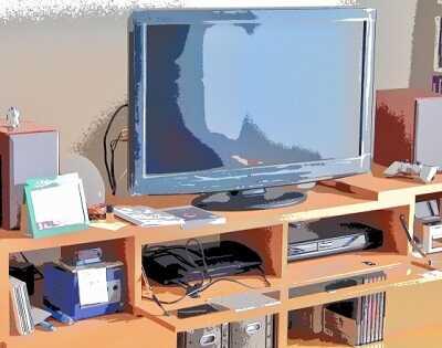 テレビ台に置かれたTV