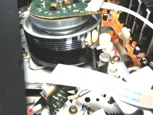 VHSビデオデッキ内部のヘッドドラムにテープが巻き付いているところ